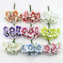 12pieces 3cm Silk peony Artificial Flower Bouquet Stamen for Wreath Scrapbooking Decoration Fake Flowers
