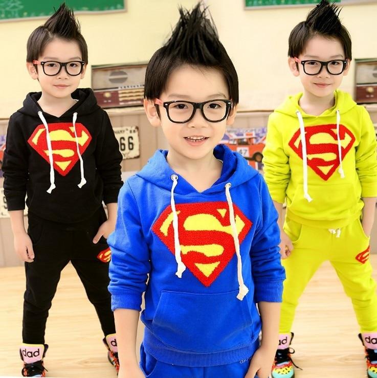 Retail-Spring/autumn children clothes boy Superman sport suits boy outwear kids activewear 2pcs cotton 3 color free shipping<br><br>Aliexpress