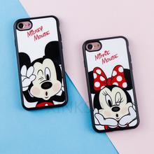 Original Cute Cartoon Minnie Mirror Silicone Cases for iPhone X 6 6s Case TPU Mickey Mouse Case for iPhone 7 8 Plus 5 5s SE Case(China)