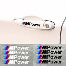 Car styling 4PCS M Power Car Decal Door Handle Auto Stickers Decoration for BMW Covers M3 M5 X1 X3 X5 X6 E36 E39 E46 E30 E60 E92