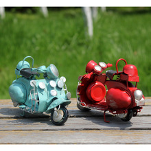 Vintage Motorcycle Model Iron Craft Birthday Gift Mini Car for Home Decoration Furnishing Articles Photography Background Props