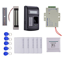 LCD Biometric PIN Code 125KHz RFID ID Card Reader Door Lock Fingerprint Access Control System kit+Magnetic Lock +Power Supply(China)
