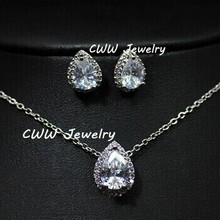 Water Drop Design Pear cut Top Quality Cubic Zirconia Created Diamond Necklace Pendant And Earrings Jewelry Sets For Women T058
