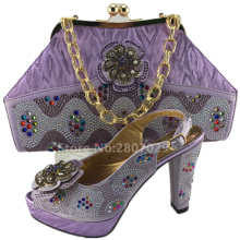 LILAC Matching Shoes and Bag Set Decorated with Appliques African Shoe and Bag Set Italian Design African Party Shoe and Bag Set