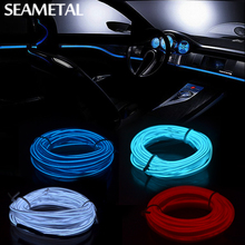 3m/5m Car 12V LED Strip Lights Flexible Neon EL Wire Indoor Universal Interior Decoration Strip LED Car Light Strip for Car Auto