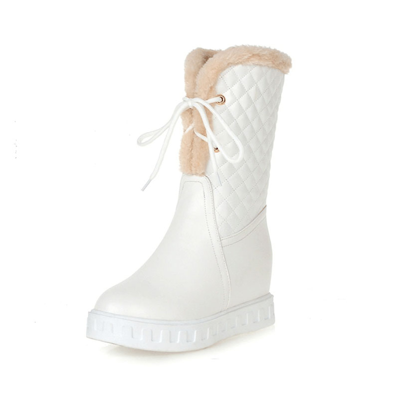 hot!  winter warm fur snow boots women mid calf high boots fashion pu leather mid calf knee high boots shoes for women zzt108<br>