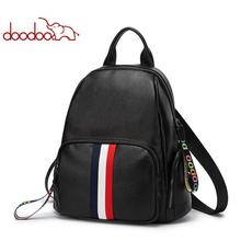 DOODOO New Autumn and Winter Preppy Style Women PU backpack lady backpacks girl school bag Soft fabric with beautiful webbing