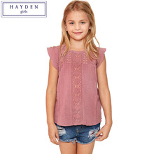 HAYDEN Girls Ruffle Sleeve Top Lace Blouse Short Sleeve Tee Shirts for Teenagers Age 7 8 9 10 11 12 13 14 Years Girl Clothes(China)