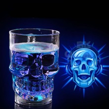 Creative LED Skull Cup Bar Pub Beer Wine Drink Barware Water Activated(China)