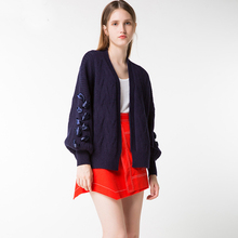 2017 autumn Winter Women Knitted short Cardigan Sweater New Puff Sleeve Wool Cotton Polyester Loose Sweaters Coat 091403(China)