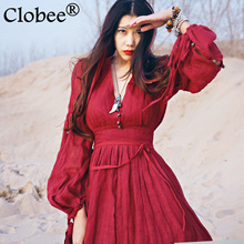 2017 Women Red Dress Maxi Robe Plus Size  Summer Nation Style Loose Red Dandage Dress Cotton Linen Fashion Beautiful