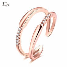 simple double line open end ring rhinestone rings 585 rose gold color anel for women elegant party jewelry wholesale MR028