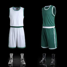 Team Uniform Mens Blank Basketball Jerseys Sports Training Shirt Short Sets Male Basketball Clothes White Green Plus Size