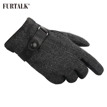 FURTALK Men Winter Real Lamb Leather Gloves Fashion with Warm Cashmere Lining Tactical Gloves(China)