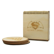 Free Shipping 1Set/4pieces DC Comic Batman vs Superman Cup Mat Wooden Wonder Woman & Doomsday Coasters with Gift Box