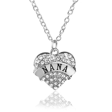 New Arrive Heart Pendant Rhinestone Necklace Nana Letter Crystal Pink White Blue Jewelry Women Chain Family Christmas Gift(China)