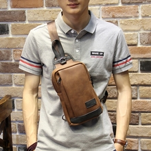 New Design Man PU Leather Messenger Bag Brown Travel Chest Bag Small Crossbody Bag Casual Shoulder Bag For Men Women