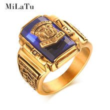 MiLaTu Cool Men Multicolor Class Stone Ring Stainless Steel 1973 Walton Tiger Head Ring Men Jewelry Gift 2017 New R533G(China)
