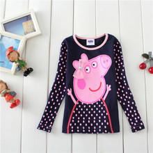 kids girl autumn and spring full sleeve cotton cartoon peppa children tops baby fashion lovely cute bottoming shirt 18M-8yrs(China)