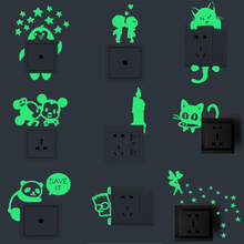 10 styles Luminous DIY Cute home Cat Switch Wall Sticker Night light bedroom Fluorescent Sticker Glow in the dark Vinyl Decal ZZ(China)
