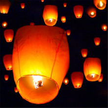 10Pcs/Set Wishing Lamp Chinese Paper Sky Flying Wishing Lantern Lamp Candle Party Wedding Wish  For Birthday Wedding Party Decor