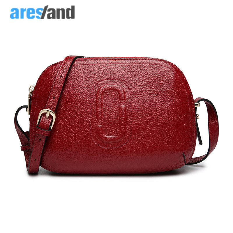 Aresland fashion Small shell genuine leather women messenger bags cross body  mini women bags solid  red  black<br>