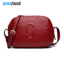 Aresland fashion Small shell genuine leather women messenger bags cross body mini women bags solid red black(China)