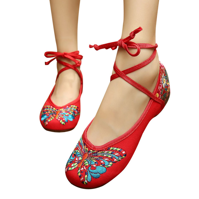 Tied Old Beijing Embroidered Women Shoes Mary Jane Flat Heel Chinese Style Butterfly Embroidered Shoes Casual Cloth Shoes Woman<br><br>Aliexpress