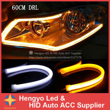 New 2PCS 60CM DRL Flexible LED Tube Strip Daytime Running Lights Turn Signal Angel Eyes Car Styling Parking Lamps