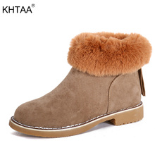 KHTAA Women Winter Ankle Boots Zip Ankle Snow Boots 2017 Female Fashion Warm Plush Fur Low Heels Platform Suede Thick Heel Shoes
