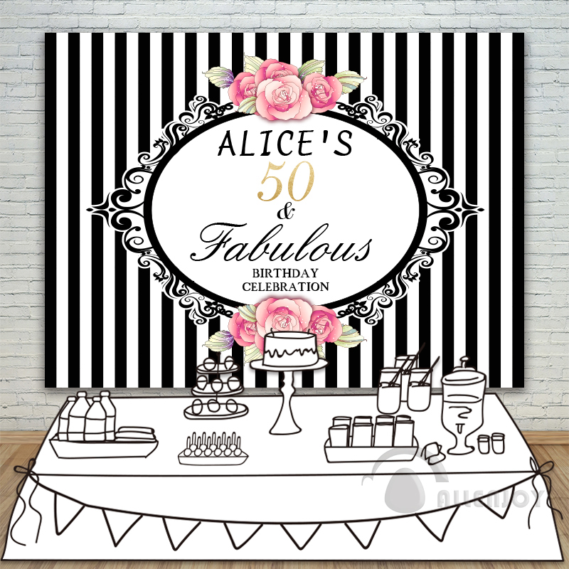 Girls Birthday backdrops Baby Shower Background Vertical stripes Pink Rose Invitation celebration Party Allenjoy customize<br>