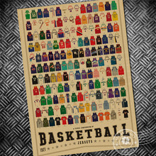Free ship Basketball uniforms jersey Vintage poster Crafts bar cafe design retro painting living room bar paper print picture