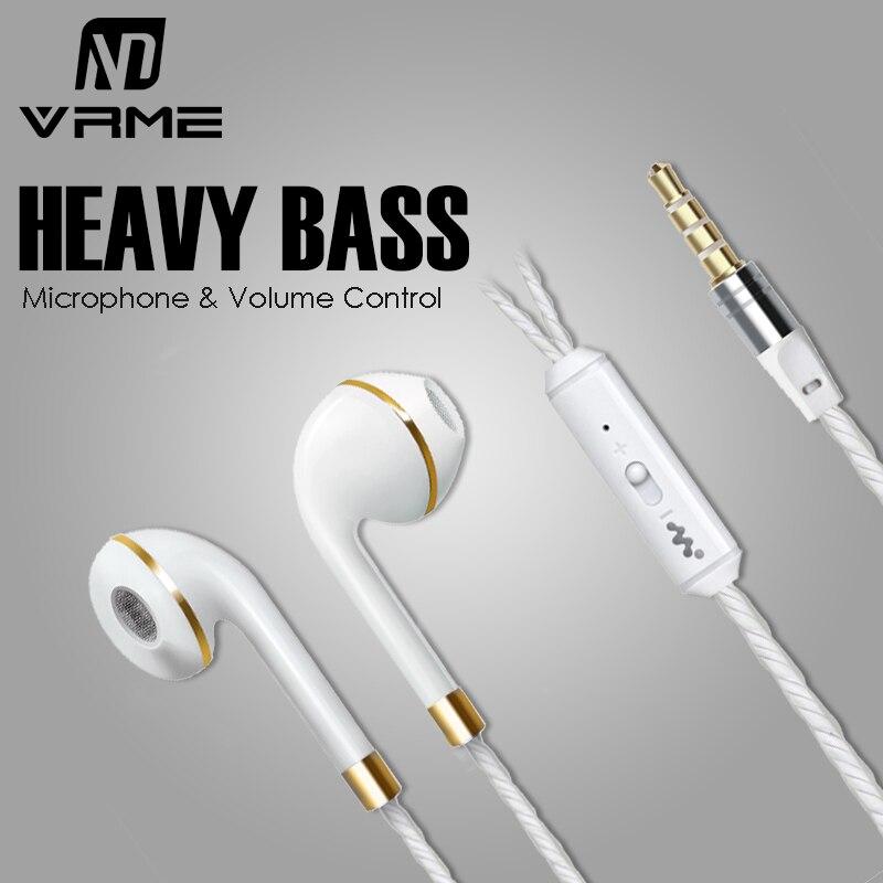 Luxury Elegant Vrme Headphones Wired Earphone Sport Earphones with Microphone Volume Control Bass Headset Earbuds for iPhone 6 5<br><br>Aliexpress