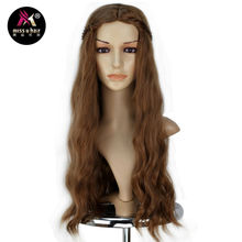 Miss U Hair Girl Female Synthetic Role Play Long Wavy Brown Wig with Braid Cosplay Costume Full Wig Halloween Party Use(China)