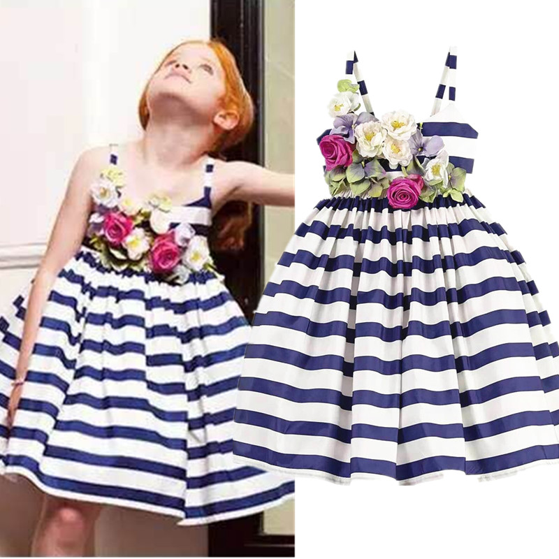 2017 New Arrival Girls Dress Striped Navy Flower Dress Strap Sleeveless Cotton Dress Fashion High Quality Childrens Clothing<br><br>Aliexpress