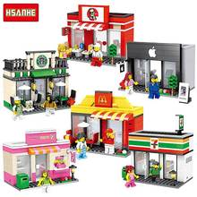 HSANHE City Street Mini Series brinquedos Quality Apple and McDonalds  Waiter Shop Model Building Blocks Kids Toys