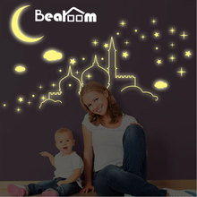 DIY 3D Cartoon Luminous Wall Stickers Fluorescent PVC Home Decors Glow Moon Stars Sky In the Dark for Nursery Kids Room Decals(China)