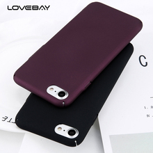 Lovebay Phone Case For iPhone 6 6s 7 8 Plus Simple Plain Wine Red Frosted Matte PC Back Cover Protect Cases For iPhone 7 Plus(China)