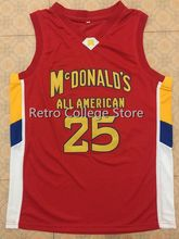 #25 DERRICK ROSE Dolphins McDonald ALL AMERICAN high quality basketball jersey Retro throwback Cheap menswear(China)