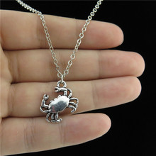 "GLOWCAT Q1A46 Silver Alloy Animal Sea Beach Crab Cancer Pendant Short Collar Necklace 18"" Holiday Style"