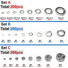 200pcs M2 M2.5 M3 M4 M5 M6 M8 M10 Each 25pcs A2 Stainless Steel Flat Washer Spring Washer Hex Nuts Assortment