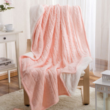 Cable Knit Cotton Thickening Blankets, Wool Blankets Solid Color Sofa 120cmx180cm Brown Gray White Pink Warm in the winter
