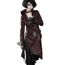 2017 Winter Gothic Cross Leather Long Coat Punk Patchwork Red Black Long Sleeve Stand-collar Women Jacket Wind Coats