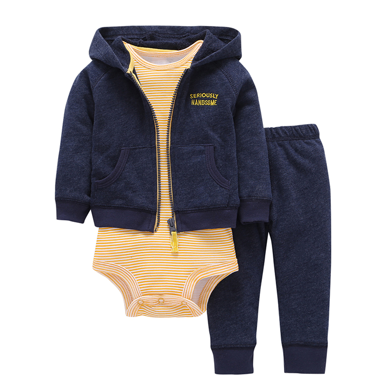 spring autumn baby boy clothes cotton long sleeve hoodies jacket&coat+stripe romper+pant newborn baby girls clothing set 6-24M