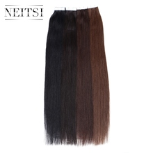 "Neitsi 5A 20"" Indian Remy Human Hair Tape In Hair Extensions Adhesives 20pcs 50g 100g 40pcs Straight Skin Weft Tape In Soft Hair"