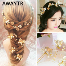 AWAYTR 2 Pcs/Lot Sweet Hair Jewelry Wedding Hair Ornaments Pearl Flower Hair Sticks Combs For Hair Accessories Bridal Headwear