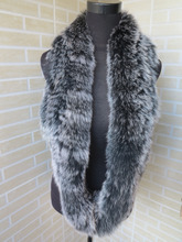Braid Genuine fox fur  circle scarf wrap cape  nature black with white tips