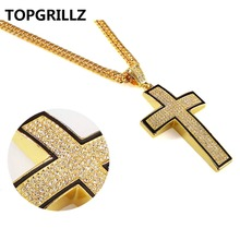 TOPGRILLZ Crystal Gold Color Plated Arc Cross Pendant Necklace Men Women Personality Trend Hip Hop Rock Fashion Jewelry