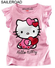 SAILEROAD summer children 2017 new hello kitty baby girls t shirts kids tops tees girls dot cartoon cotton princess t-shirt(China)