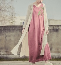 Beautiful V Neck Handmade Flower Embroidery Cotton Linen Women Dress, Elegant Ladies Loose Long Spring Autumn Plus Size Dresses